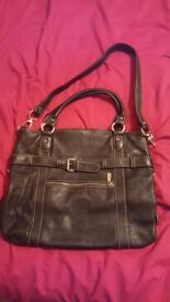 Black leather French designer Kesslord handbag
