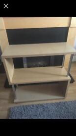 Oak effect shelving unit
