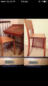 Antique vintage school desk table and chair