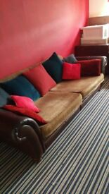 Open too offers! Large deep sofa. Cushion seats refoamed and cushions recovered