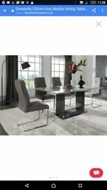 Donatella 120cm Grey marble dining table and 6 chairs