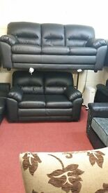 BARI 3+2 ITALIAN BONDED LEATHER SOFA IN BLACK BRAND NEW STUNNING QUALITY AND PRICE £499