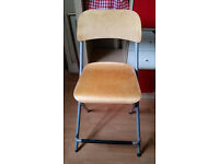 1 IKEA FRANKLIN Bar stool with backrest, foldable, birch veneer, silver-colour
