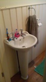 Cloakroom pedestal basin, complete. Victorian style. Nice and clean.