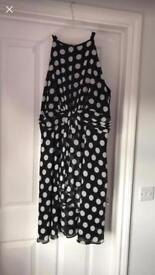 Black and white spotty evening dress