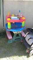 Stroller, crib, excesaucer n picnic table