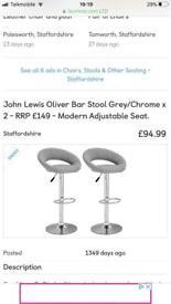 John lewis oliver barstools grey brand new cost £150 take £45 flat pack still
