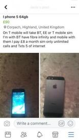 iPhone 5 64gb T mobile, EE or BT