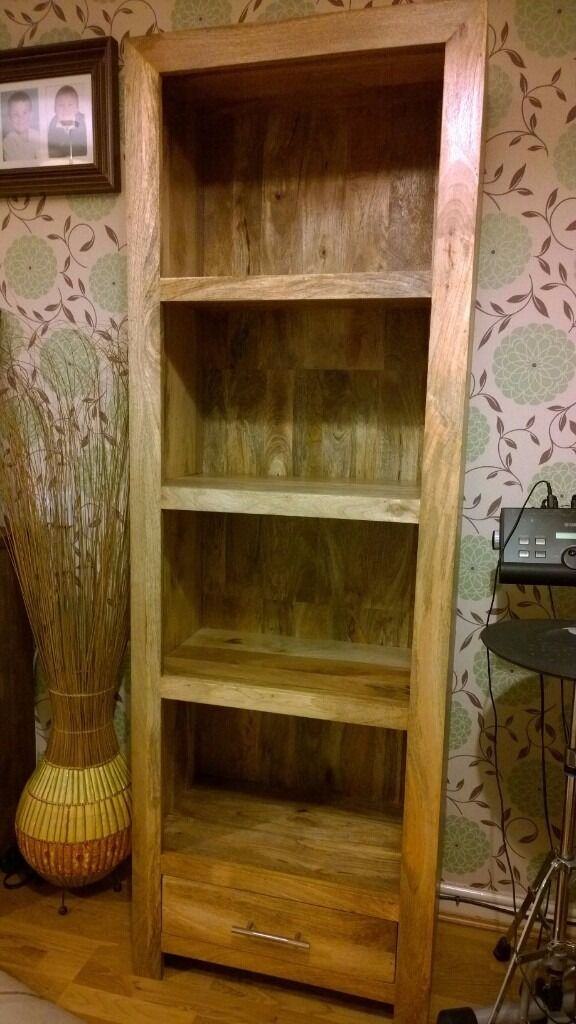 Chunky Dakota Mango Solid Wood Bookcase with Drawer. Natural Waxed.