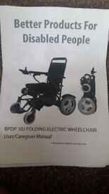 Electric and manual wheelchair in excellent condition