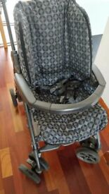 MAMAS & PAPAS Pilko Pramette Pram/Buggy/Pushchair Travel System with Car Seat in Blue/Grey