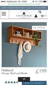 Storage Shelf wall unit with hooks Cotswold company