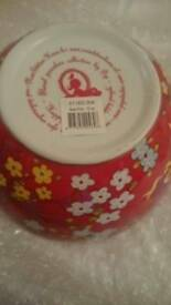 Pip home floral porcelain bowl in pink