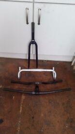 Bicycle handlebars and fork.
