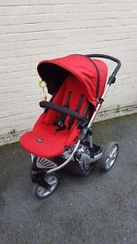Britax B Smart 3 travel system in black and red with many extras.