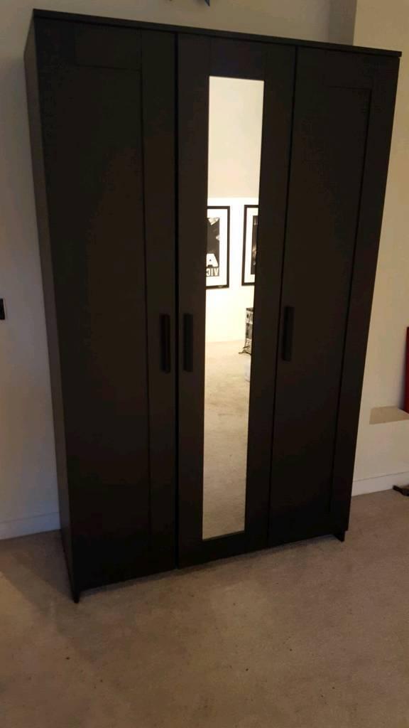 Black Ikea Brimnes 3 door wardrobe w/mirror door