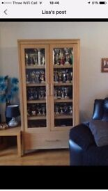 Solid Oak Display Cabinet and Sideboard