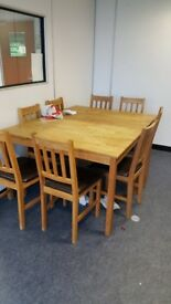 OAK TABLES WITH 4 CHAIRS
