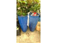 "2 large Blue glazed terracotta pots 37""x18"".£40 pair."
