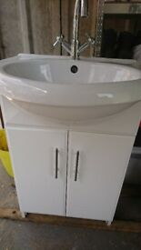 Bathroom Cabinet and Sink (White with Chrome Taps)