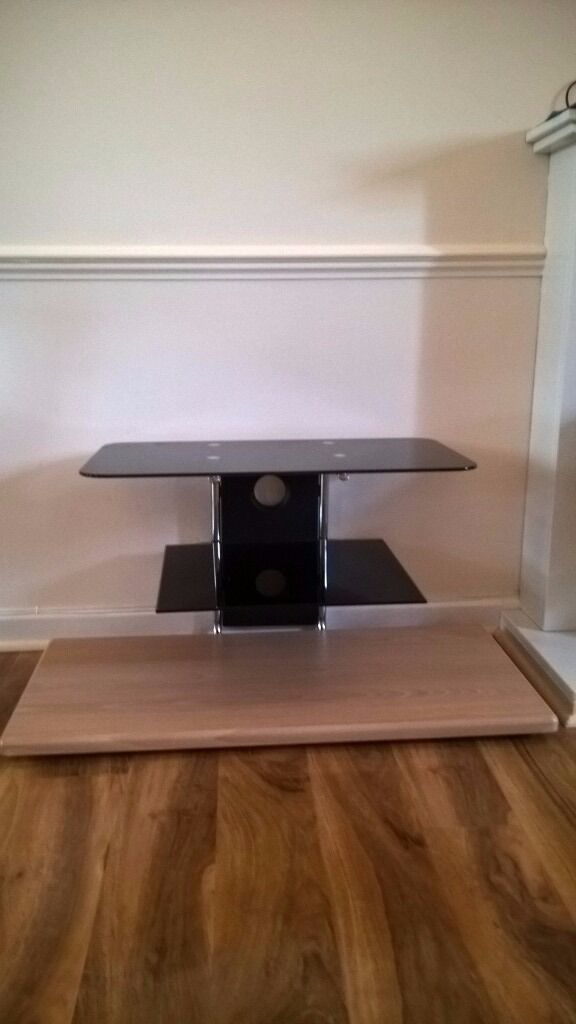 Glass and wood TV Stand Mount 2 Tiers