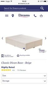 Double divan bed base with drawers for sale
