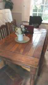 solid pine table and 6 chairs rustic