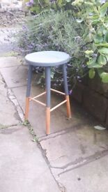 Vintage Antique Retro Nordic Scandi Solid Wooden Wood Dairy Milking Stool Dipped Blue