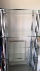 Pair of glass shelving units