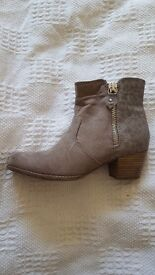 Brand new stone coloured ankle boots