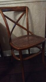 Antiqued Bentwood style dining chairs x4