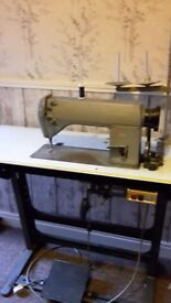 Industrial sewing machine Singer 660, motor adjusted for house hold electric.
