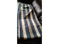 TOP QUALITY very EXPENSIVE heavy lined pencil pleat blue & cream CURTAINS - selling cheap