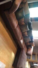 Half leather/fabric corner group