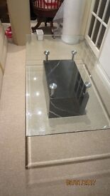 COFFEE TABLE GLASS TOP MARBLE EFFECT BASE FROM FURNITURE VILLAGE