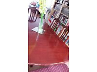 mohagony table and chairs