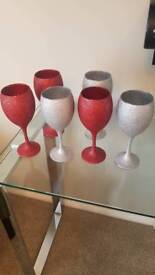 Glitter glasses x 6 silver and red