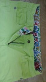 Mini boden summer trousers, jean style, age 6yrs, girls in neon yellow