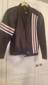 Men's leather biker / mototcycle jacket