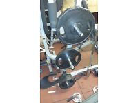 120kg Rubber coated Olympic weights set and 7 foot Olympic bar.