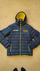 New, navy blue events jacket with vivid yellow interior. Size M