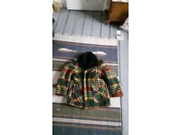Fur lined checkered winter coat
