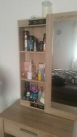 oak single drawer dressing table complete with large sliding mirror