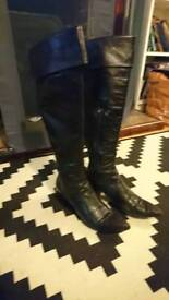 Leather Knee High Boots, 6