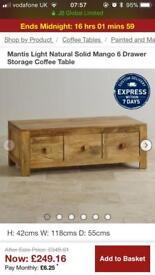 Mango Wood Coffee Table with Drawers