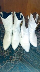womans cowboy boots white size 6 leather hardly worn