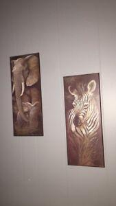 Zebra and elephant paintings