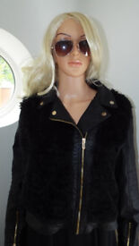 Select Icons Faux Leather Fur Front Jacket Size 16 Excellent Condition