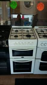 BELLING WHITE 50CM WIDE DOUBLE OVEN FULL GAS COOKER WITH SAFETY GLASS LID