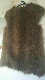 Zara ladies Faux feather/fur gilet size M
